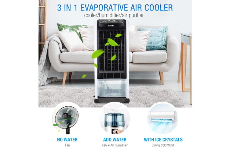 MAXKON 7L Mobile Evaporative Air Cooler Fan Humidifier Air Purifier Ionizer 3 Modes with Remote Control   Black