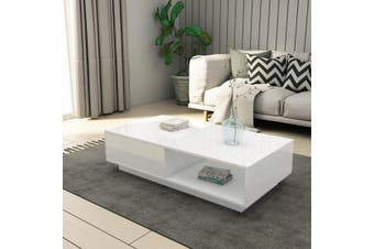 Modern Coffee Table Storage Drawer Shelf Cabinet High Gloss Wood Furniture   White