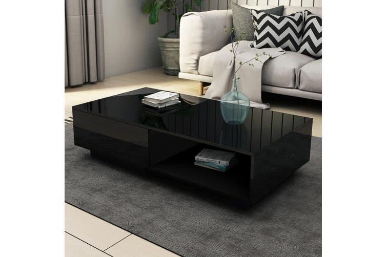 Modern Coffee Table Storage Drawer Shelf Cabinet High Gloss Wood Furniture Black Kogan Com