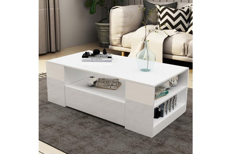 Modern Coffee Table 2 Drawers Cabinet Storage Shelf High Gloss Wood Living Room Furniture   White