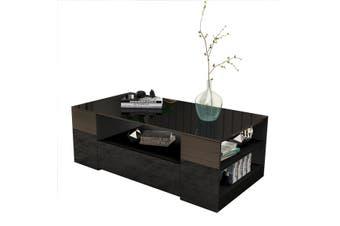 Modern Coffee Table 2 Drawer Storage Shelf Cabinet High Gloss Wood Furniture   Black