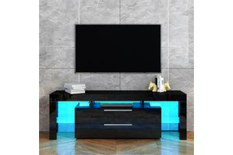 TV Stand Entertainment Unit 2 Drawers Storage Cabinet Wood Furniture   Black