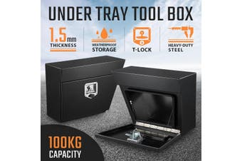 Pair of Steel Under Tray Tool Boxes Truck Bed Box Underbody Toolbox Organizers   Black