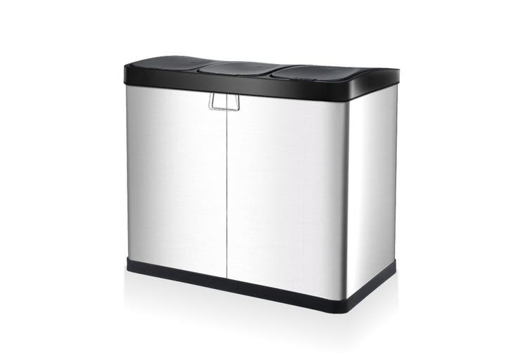 60L Pedal Garbage Rubbish Bin 3 Compartment Stainless Steel Kitchen Waste Trash Can with Flip Top Lids
