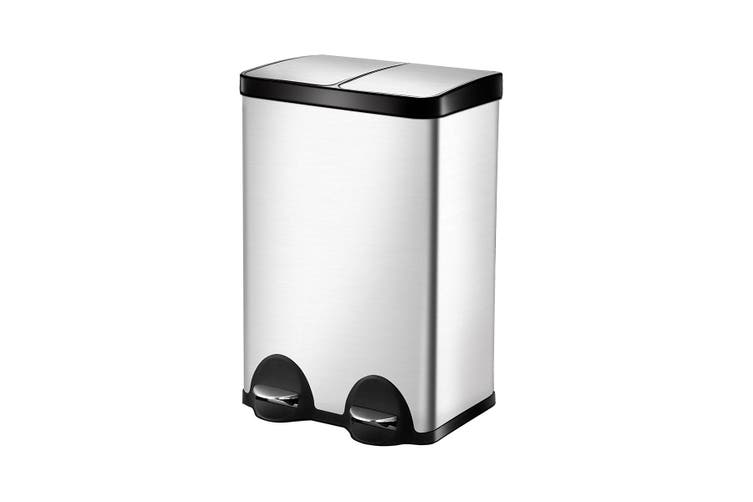 Stainless Steel Sanitary Rubbish Bin with Dual Compartment   60L