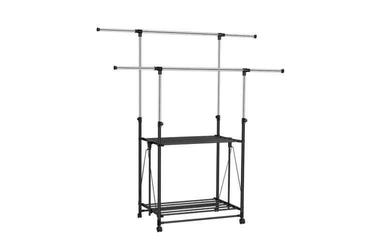 Luxsuite Adjustable Double Pole Telescopic Clothes Rack Hanger With 4 Wheels