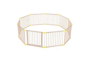 Large 10 Panel Folding Playpen Wooden Baby Playpen Toddler Kid Safety Yard