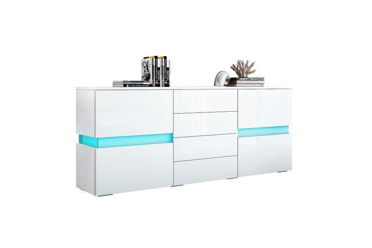 Modern Buffet Sideboard Cabinet High Gloss Storage Cupboard with 2 Doors & 4 Drawers White