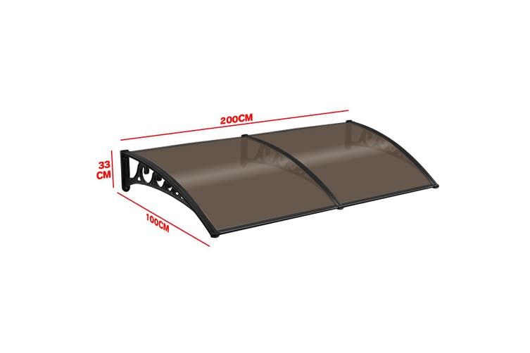 Brown Rain Proof Shade Rain Cover Canopy Awning  2M