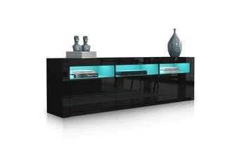 2 Doors 2 Drawers Modern TV Stand Black