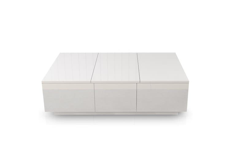 Modern 2 Drawer Coffee Table Cabinet Slide Top Storage High Gloss Wood Living Room Furniture   White