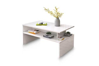 Modern Coffee Table Cabinet Storage Shelf High Gloss Wood Living Room Furniture   White