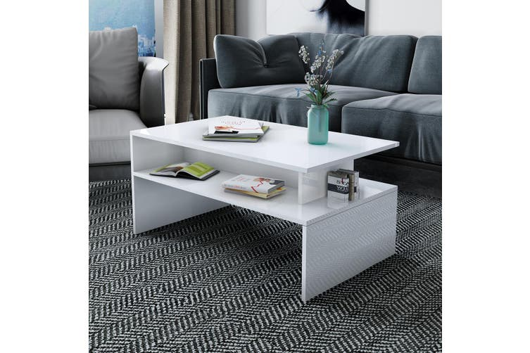 Modern Coffee Table Cabinet Storage Shelf High Gloss Wood Living Room Furniture   White