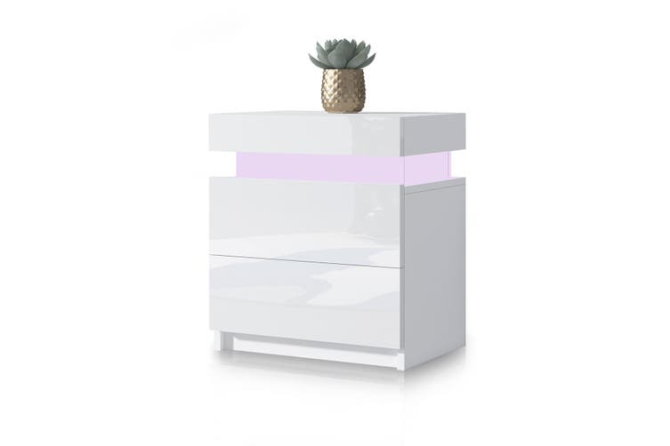 Modern Bedside Table 2 Drawers Side Nightstand Cabinet High Gloss Bedroom Furniture   White