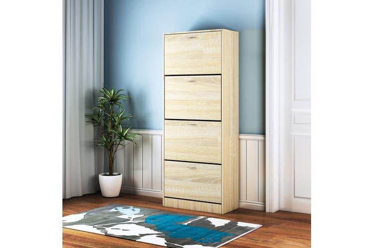 4 Doors Shoe Cabinet Rack 60 Pairs Wooden Footwear Storage Organiser Shelf Cupboard - Oak