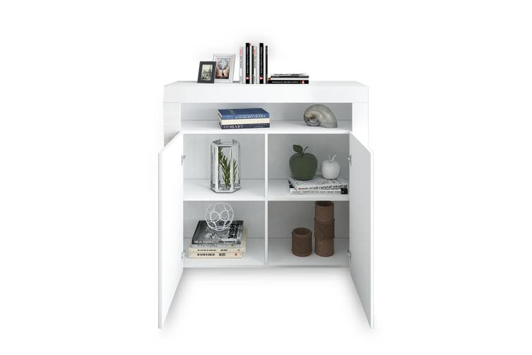 Modern 2 Door Buffet Sideboard Cabinet Storage Shelf LED High Gloss Cupboard   White
