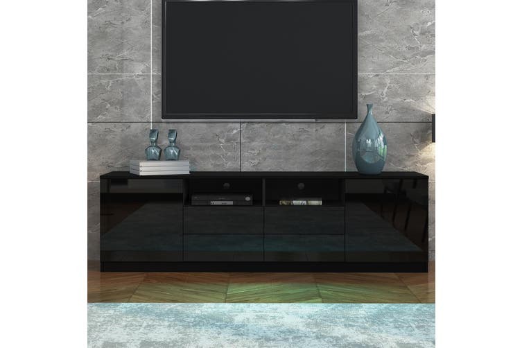 180cm TV Stand Cabinet Wood Entertainment Unit Gloss Storage Shelf with 4 Drawers & 2 Doors   Black