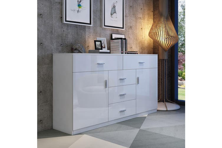 Buffet Table Sideboard Cabinet High Gloss Storage Cupboard with 2 Doors & 5 Drawers   White