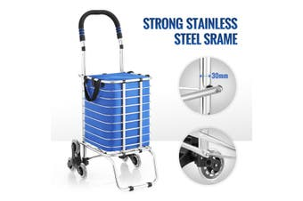Shopping Trolley Stainless Steel Cart Foldable Basket W/ Triangle Crystal Wheel