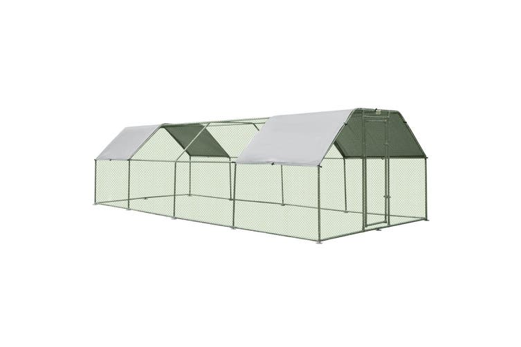 7.6M x 2.8M Large Metal Chicken Coop Walk-in Cage Run House Shade Pen W/ Covers