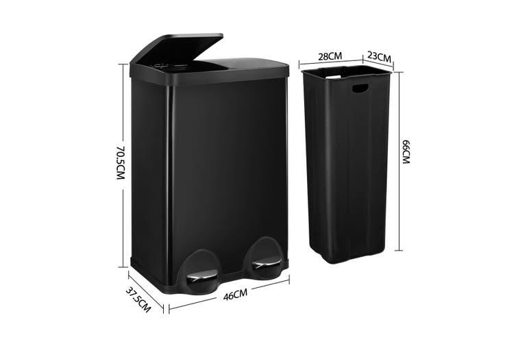 60L Dual Compartment Pedal Garbage Rubbish Bin Steel Shiny Black Kitchen Waste Trash Can