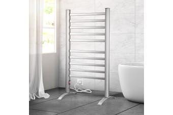 2-in-1 Electric Heated Towel Rail Bathroom 10 Bars Rack Warmer Free Standing Wall Mount