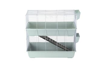 2 Levels Rabbit Cage Hutch Metal Cat Ferret Guinea Pigs House Small Animal Pet Crate