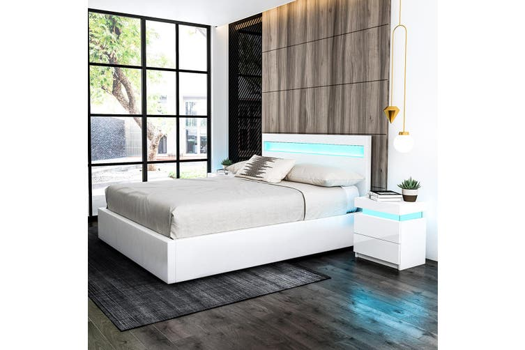 Queen Pu Leather Gas Lift Storage Bed Frame Wood Bedroom Furniture With Led Light White Kogan Com