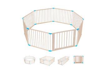 Burlywood Wooden Baby Pet Playpen 8 Panels Lockable Door Adjustable Shape
