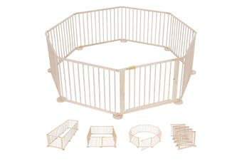 8 Panel Wooden Kids Playpen Foldable Removable   Burlywood