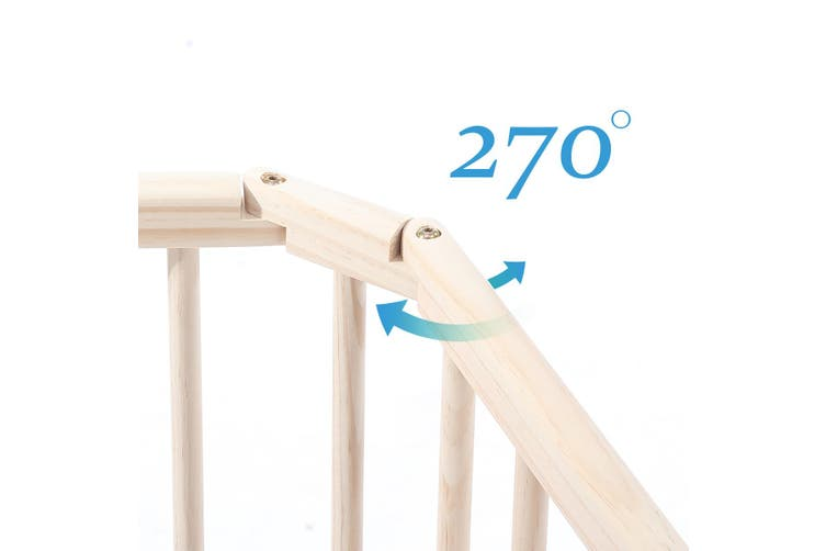 8 Panel Wooden Kids Playpen Foldable Removable   Burlywood