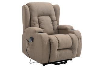 Electric Massage Chair Linen Fabric Recliner Sofa Lift Motor Armchair 8 Point Heating Seat