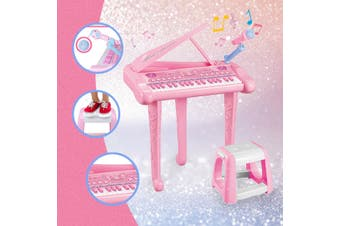 37 Key Kids Electronic Keyboard Piano Organ Musical Toy with Microphone & Stool