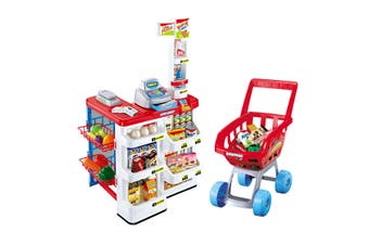 24 Pcs Kids Supermarket Pretend Play Set Toys Children Toddler Gift w/Shopping Trolley