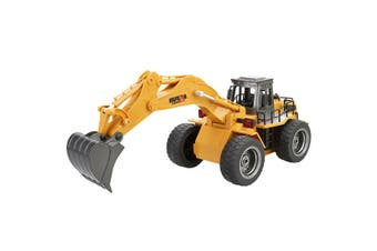Remote Control Excavator Digger with Light Flexible Arm Mini Model Toy for Kids