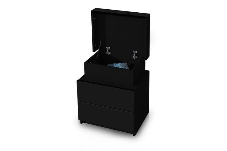 Black Bedside Table Cabinet 2 Drawers Nightstand Side Storage Wood Bedroom Furniture
