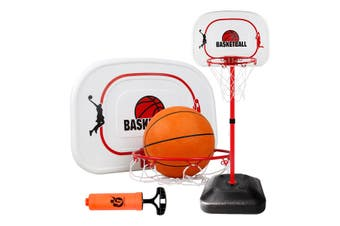1.6m 2.4m Large Kids Portable Basketball Hoop Stand System Set Adjustable Height Net Ring Ball