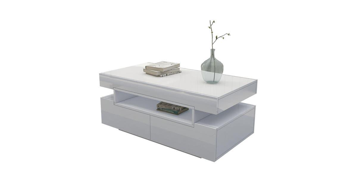 Modern White Coffee Table 4 Drawer Storage Shelf High Gloss Wood Living Room Furniture Kogan Com