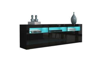 200cm Modern Wooden TV Unit Side Cabinet RGB LED High Gloss Front Black