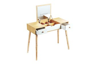 Dressing Table Stool Combo w/ Flip Top Mirror Hidden Storage