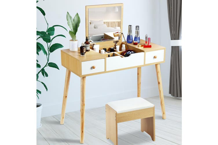Dressing Table Stool Combo w/ Flip Top Mirror Hidden Storage