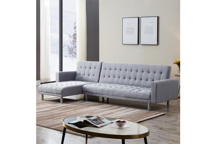 2.8m Linen Fabric 5 Seater Sofa Bed Set Light Grey Chaise Lounge Couch Futon Recliner