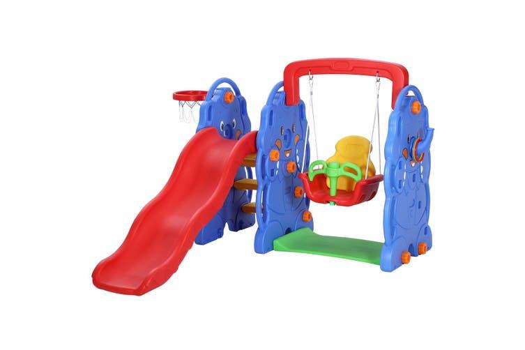 Kids Toddler Slide Swing Basketball Hoop Playset Elephant Style