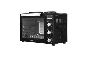 Maxkon 60L Benchtop Convection Oven Rotisserie Portable Toaster with Hot Plates