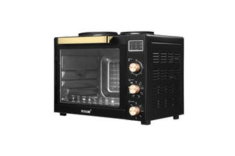Maxkon 45L Benchtop Convection Oven Rotisserie Portable Toaster with Hot Plates