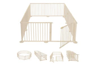 Foldable 10 Panel Kids Playpen Safety Fence NZ pine Wood