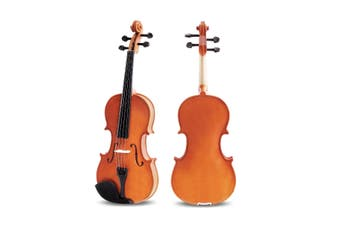 Melodic Full Size Acoustic Violin Wooden Natural with Bow Rosin Strings Beginner