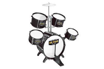 Kids Toys Jazz Rock Drum Set Drums Cymbal Stool Sticks Black