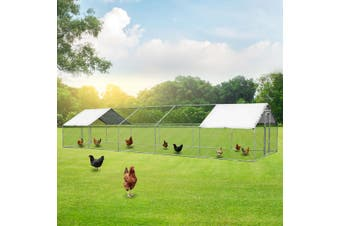 Extra Large Chicken Coop Metal Guinea Pig House Rabbit Hutch Outdoor Cage 3 x 10 x 1.95m
