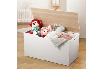 Kidbot Kids Wooden White Toy Storage Box Chest with Lid 80x40x40cm